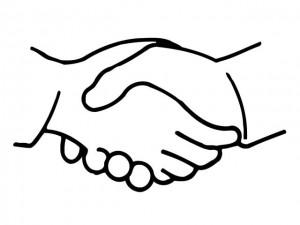 рукопожатие черно белое