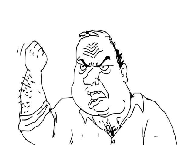 мужик показывает кулак