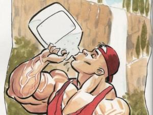 качок и стакан воды