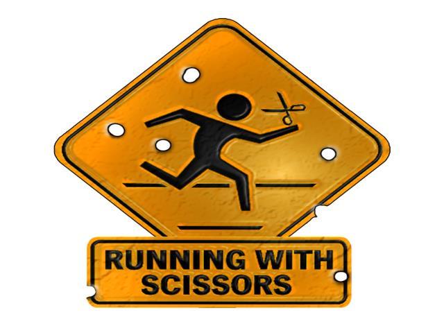 бег с ножницами знак